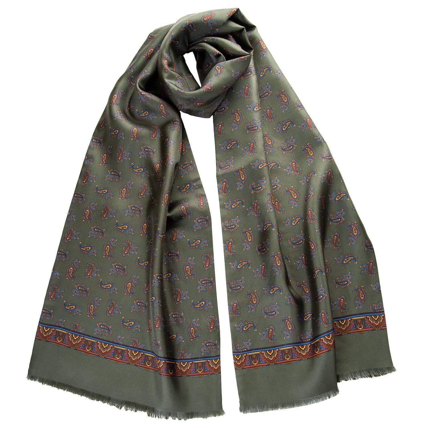 oliove green paisley silk wool double sided scarf