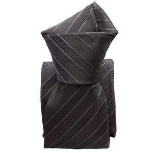 Mens Grey Striped Tie - 3 Fold - Made in Como Italy