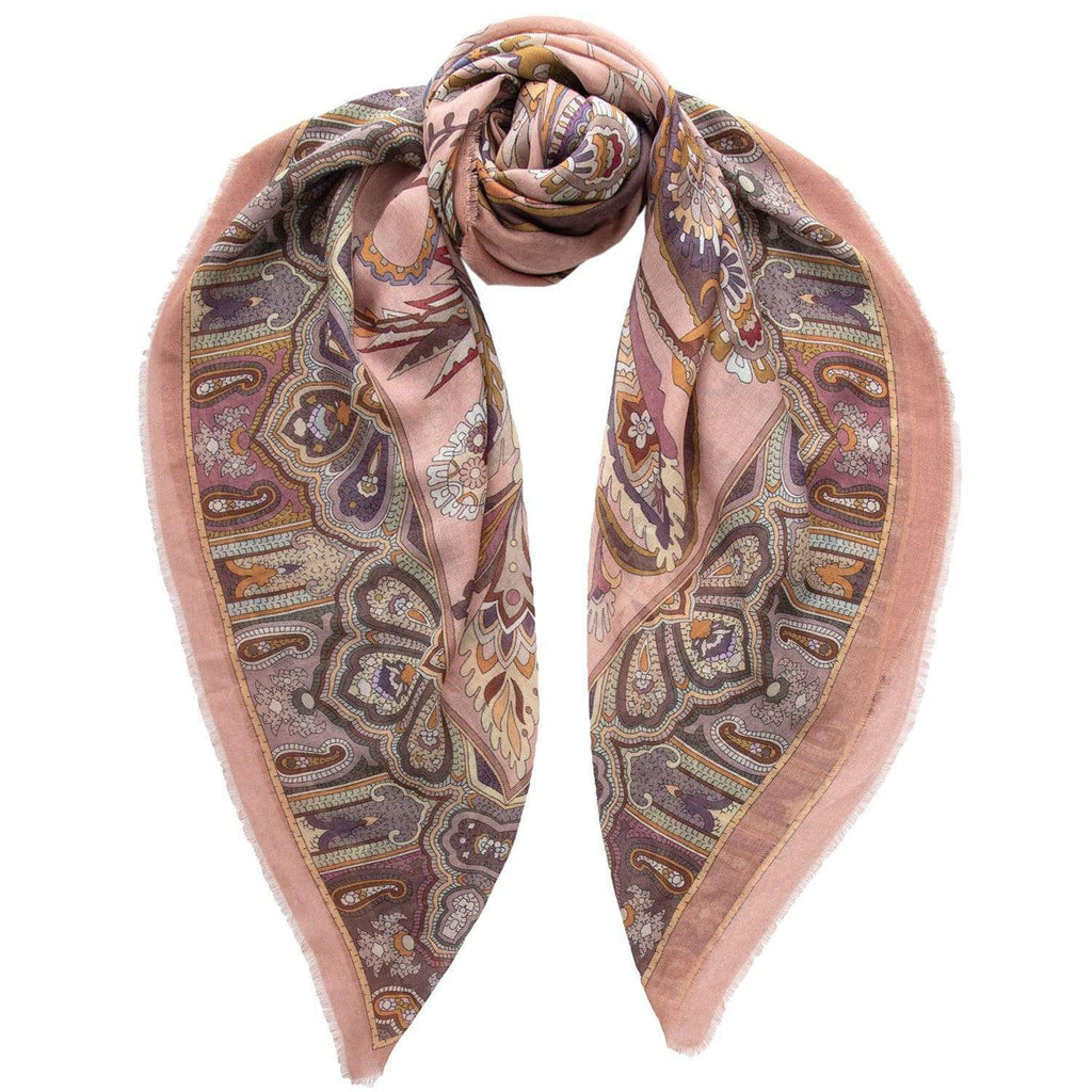 Silk Wool Scarf Extra Large - Paisley Antique Rose