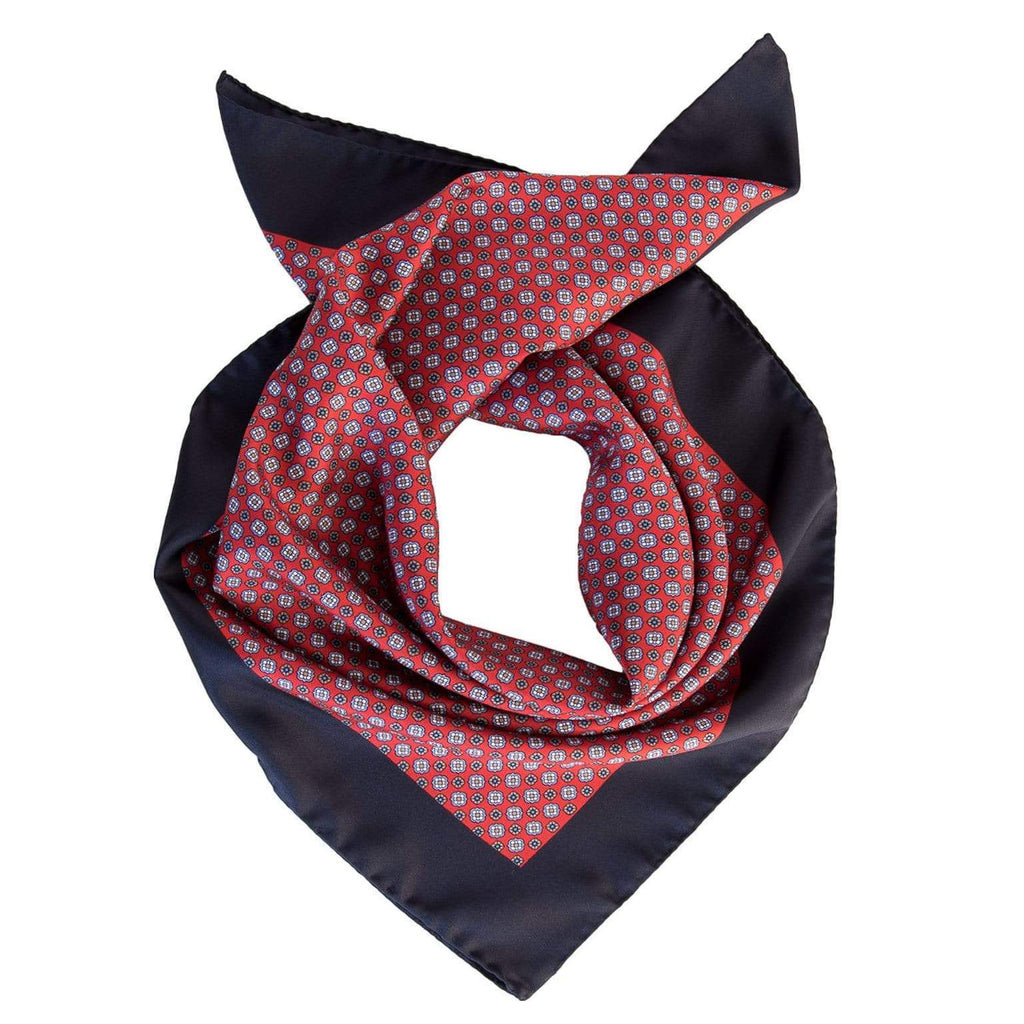 Mens Silk Neckerchief - Red - 100% Made in Italy