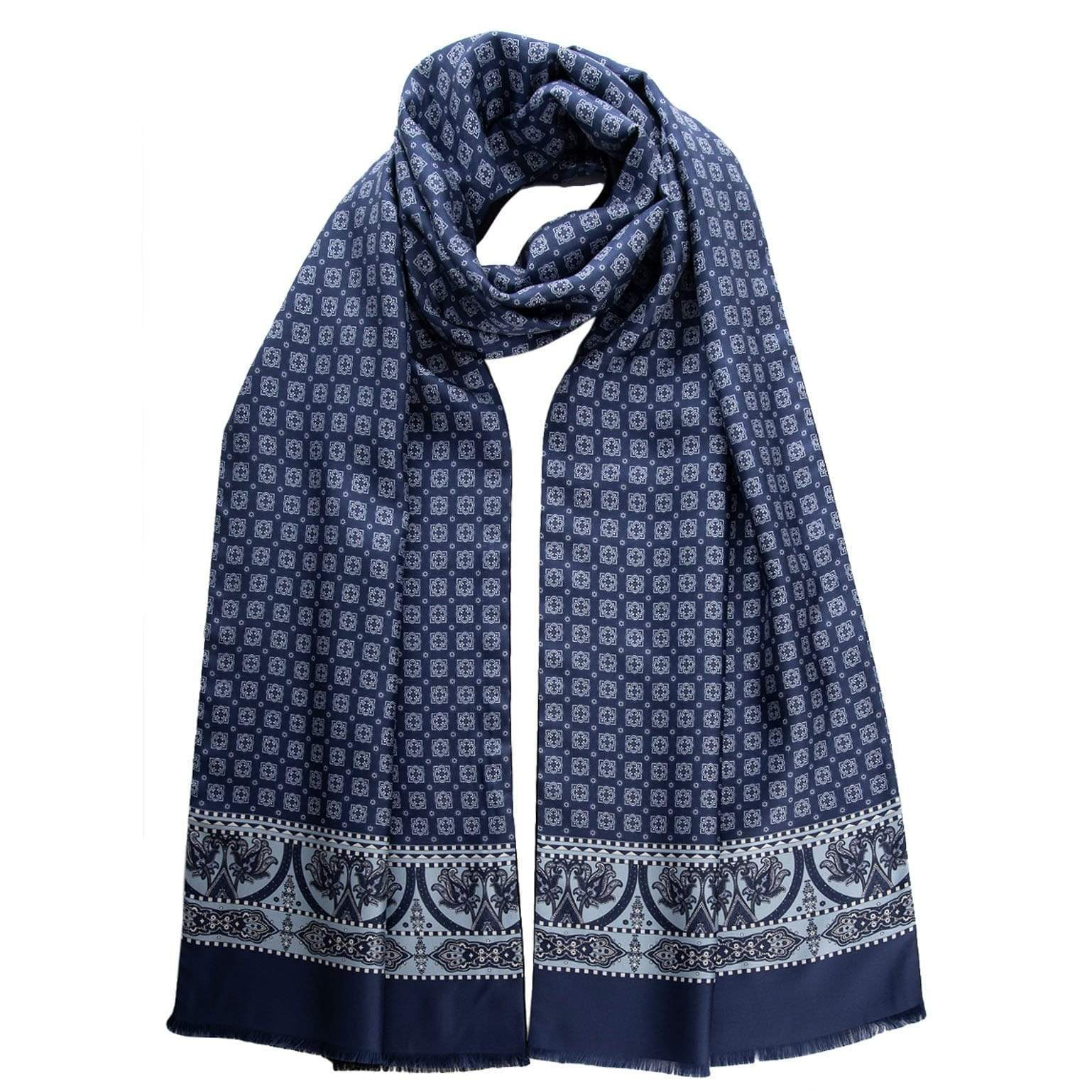 Reversible Silk Wool Scarf -  Made in Italy - Blue