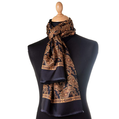 double sided silk wool patterned scarf