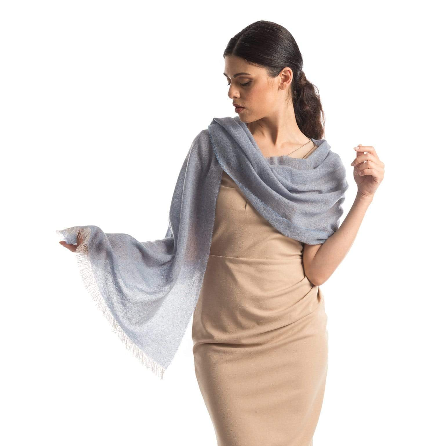Light Blue Italian Cashmere Scarf - Made in Italy