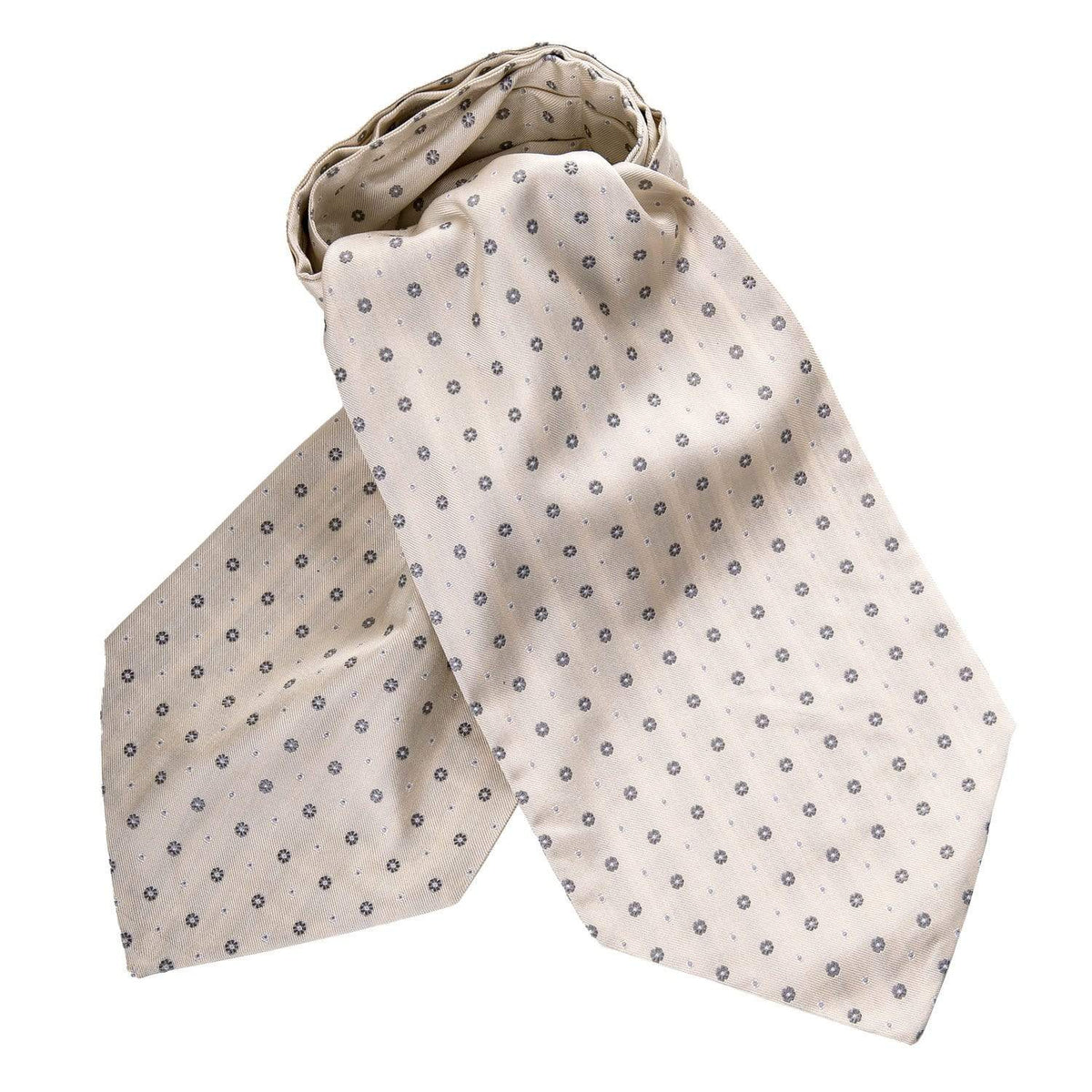 Ascot Tie for Wedding - Ivory & Silver Silk - Formal