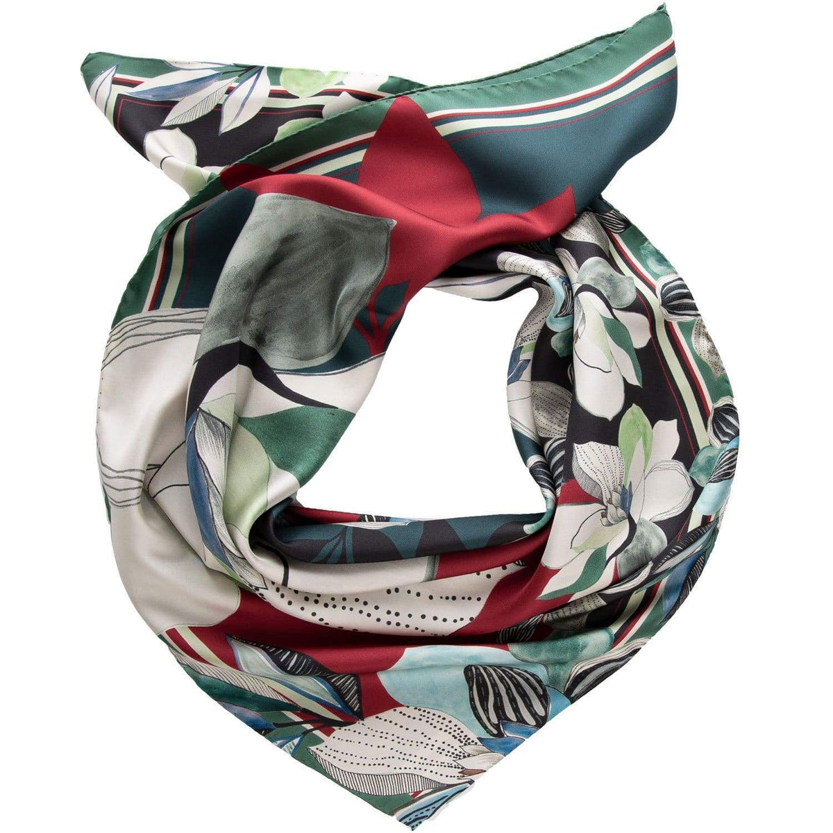 Silk Square Scarf - Made in Italy - Floral Pattern