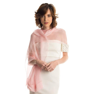 Italian Luxury Silk Sheer Pink Wrap Shawl