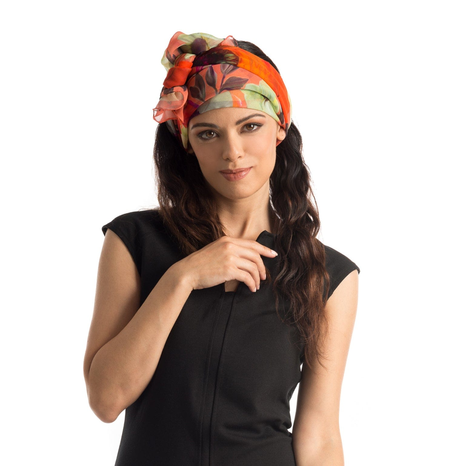 Silk Twill Scarf - Flower print - 100% Made in Italy