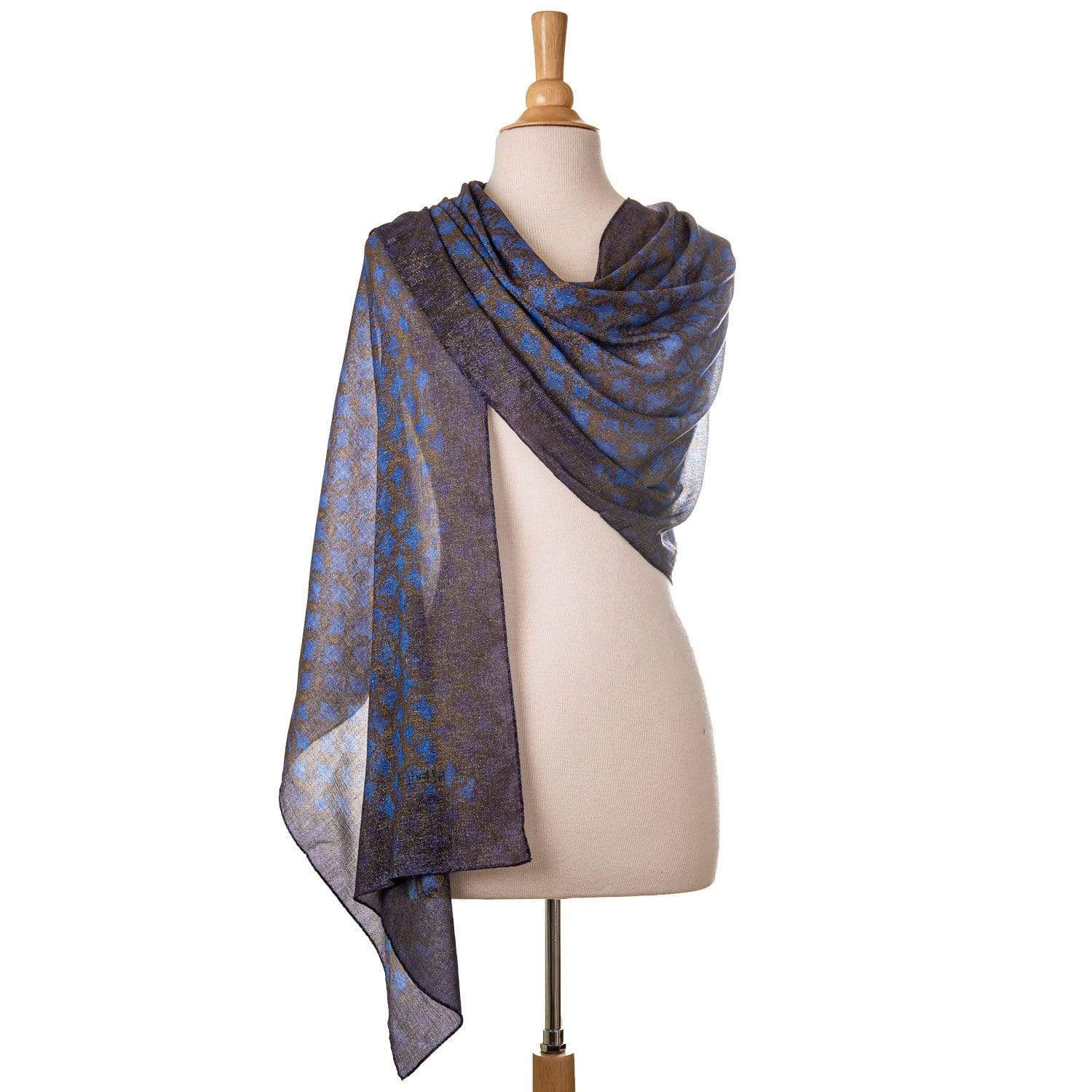 Blue and Gold Scarf - Metallic Lurex Wrap Shawl