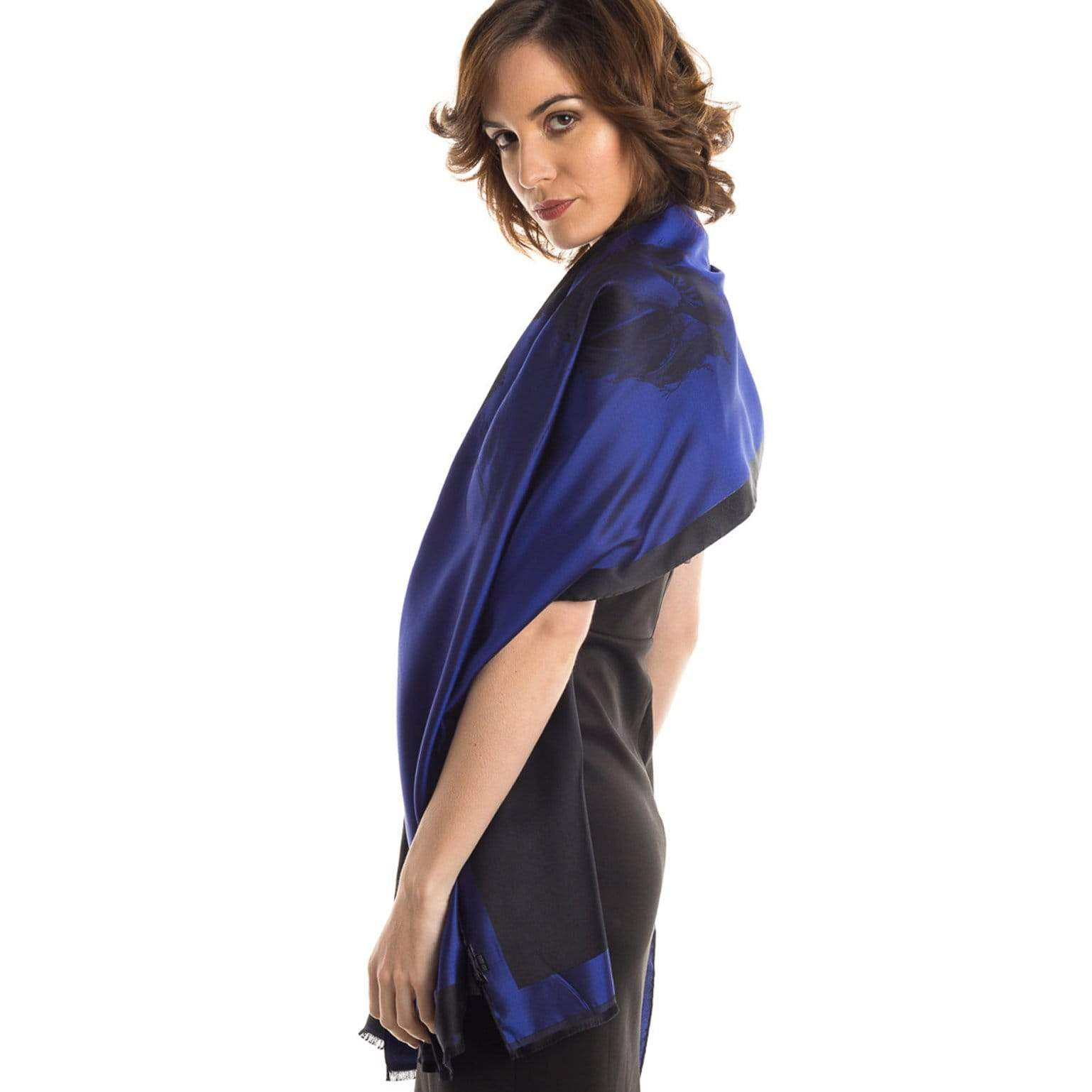 blue formal shawl wrap