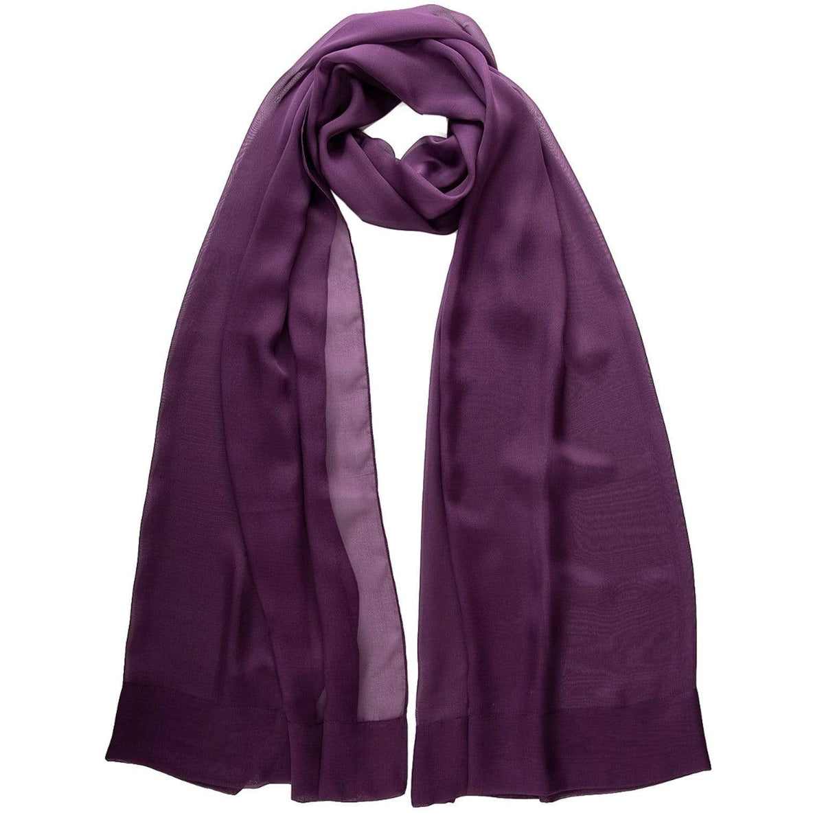 Dark Purple Chiffon Wrap - Pure Silk Made in Italy