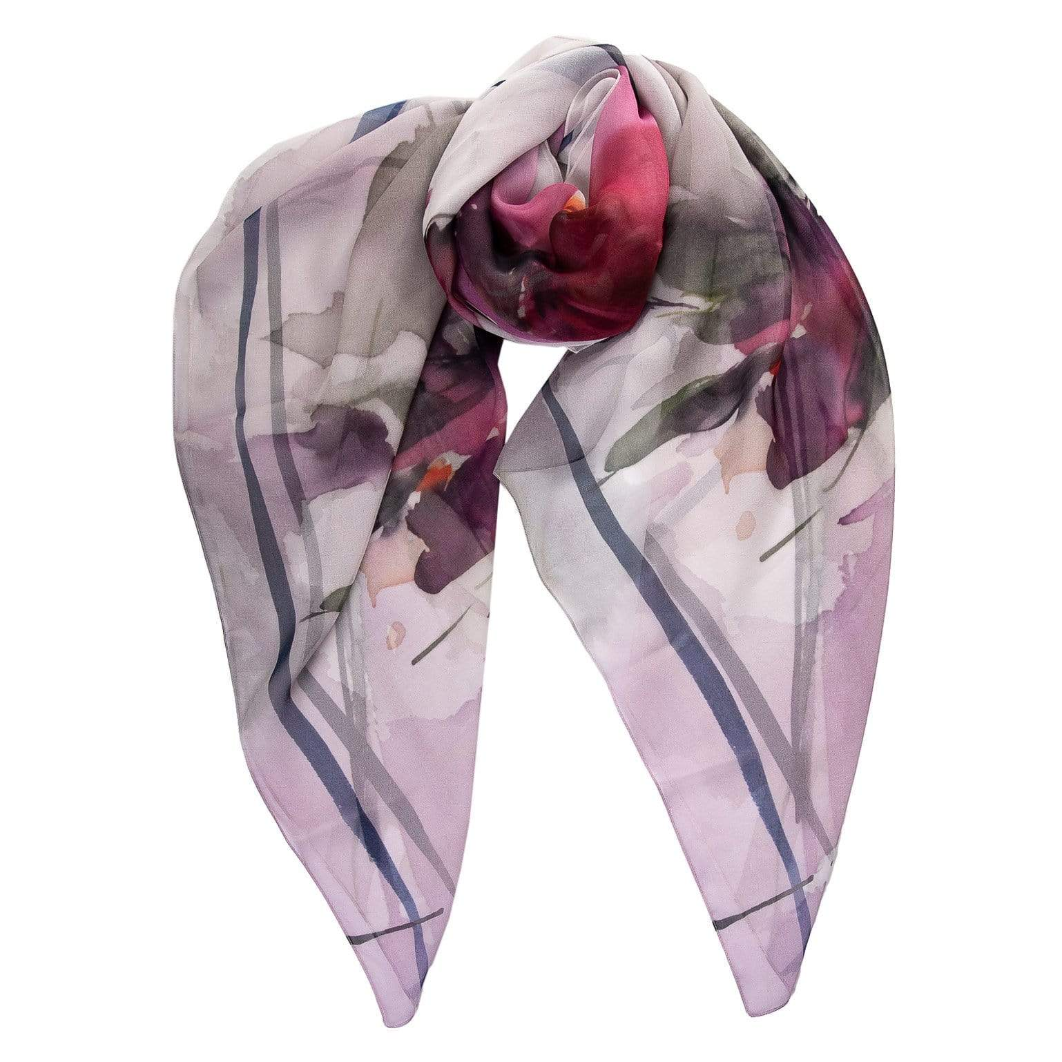 Large Pink Silk Scarf - Floral - 100% Made in Italy
