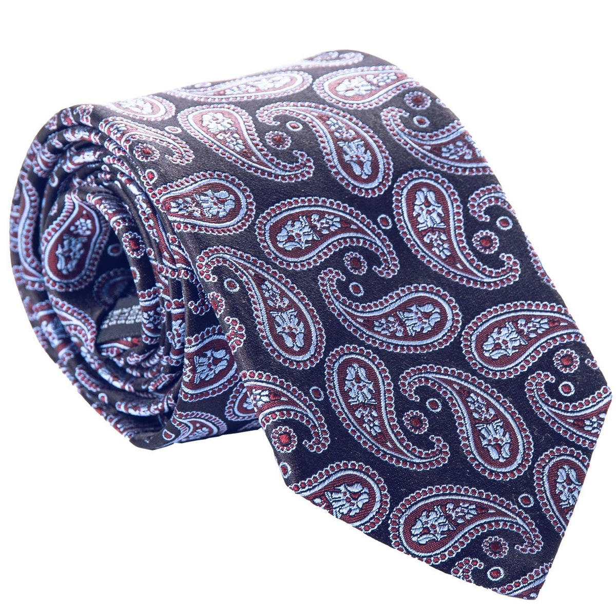 luxury woven silk burgundy and navy paisley tie