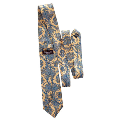 luxury yellow blue silk tie