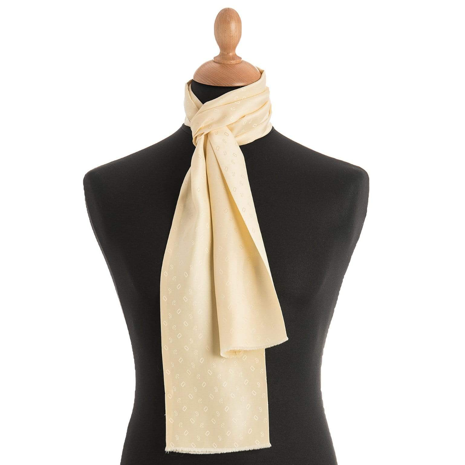 Mens Silk Dress Scarf - Made in Italy - Pale Yellow