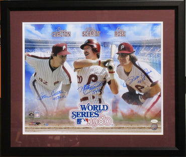 Rose, Schmidt and Carlton 16x20 Autographed  80 WS Champs collage photo framed