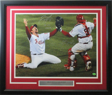 "Lidge & Ruiz 16x20 Autographed ""Last Out"" Inscribed ""08 WS Champs"" photo framed"