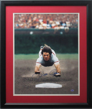 "Pete Rose 16x20 Autographed ""Reds Color Dive"" photo framed"