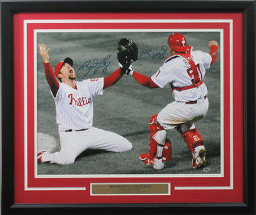 "Brad Lidge & Carlos Ruiz 16x20 autographed ""Last Out Spotlight"" photo framed"