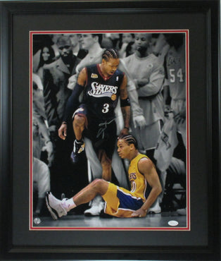 "Allen Iverson 16x20 Autographed ""Stepover ""photo framed JSA Cert"