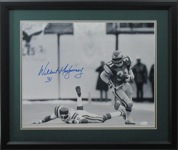 Wilbert Montgomery 16x20 Autographed Philadelphia Eagles 1980 Divisional Playoff Photo Framed JSA