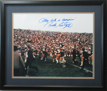 "Rudy Ruettiger Notre Dame 16x20 Autographed ""Play Like A Champion"" Photo Framed"