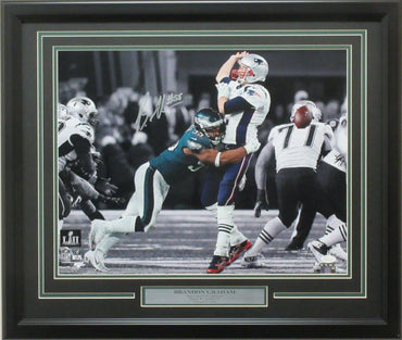 "Brandon Graham 16x20 Autographed ""SB LII Strip Sack"" photo framed"