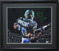 "Brian Dawkins 16x20 Autographed ""Green Spotlight"" photo framed JSA"