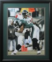 "Brian Dawkins 16x20 Autographed Philadelphia Eagles ""Hit on Crumpler"" photo framed"