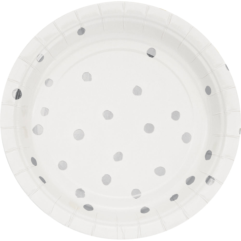 White & Silver Foil Small Plates - Happy Plates