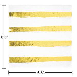 White & Gold Foil Large Napkins - Happy Plates