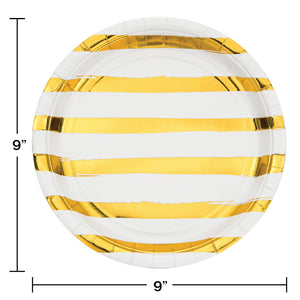 White & Gold Foil Dinner Plates - Happy Plates