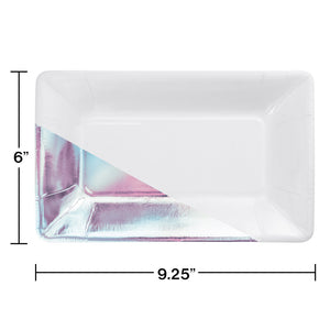 Rectangular Iridescent Dinner Plates - Happy Plates