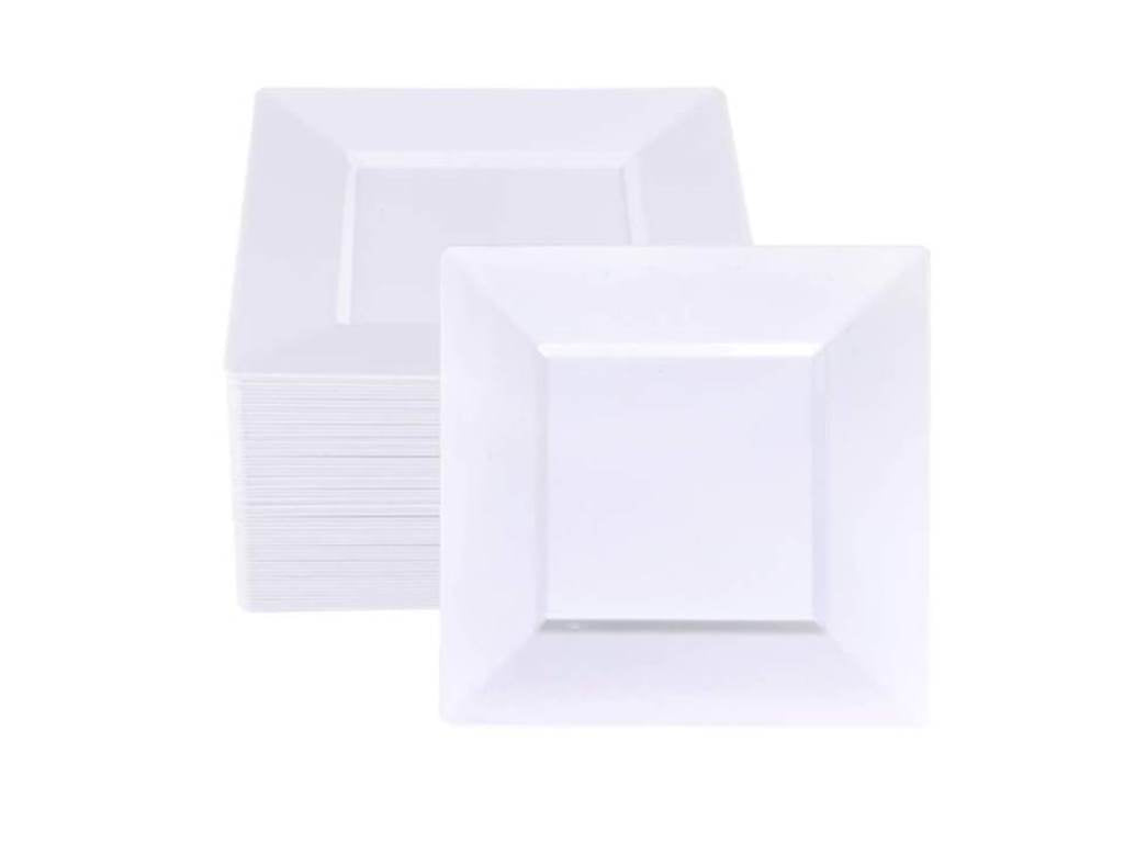 White Square Dinner Plates - Happy Plates