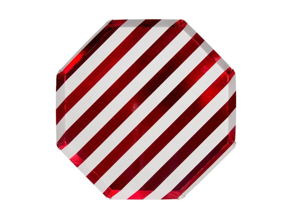 Plato Grande Shiny Red Stripe - Happy Plates