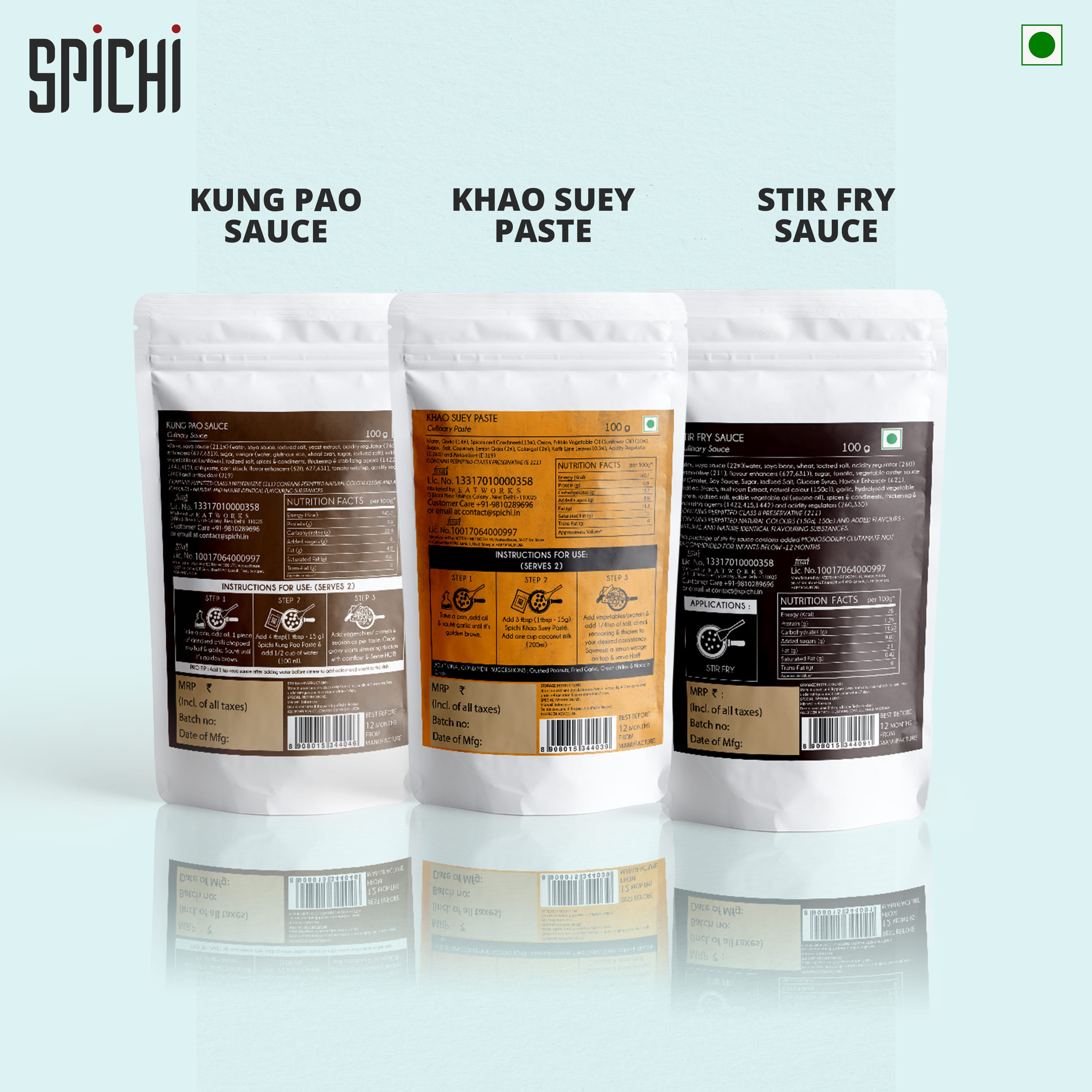 TRI PACK - KUNG PAO SAUCE, KHAO SUEY PASTE AND STIR FRY SAUCE