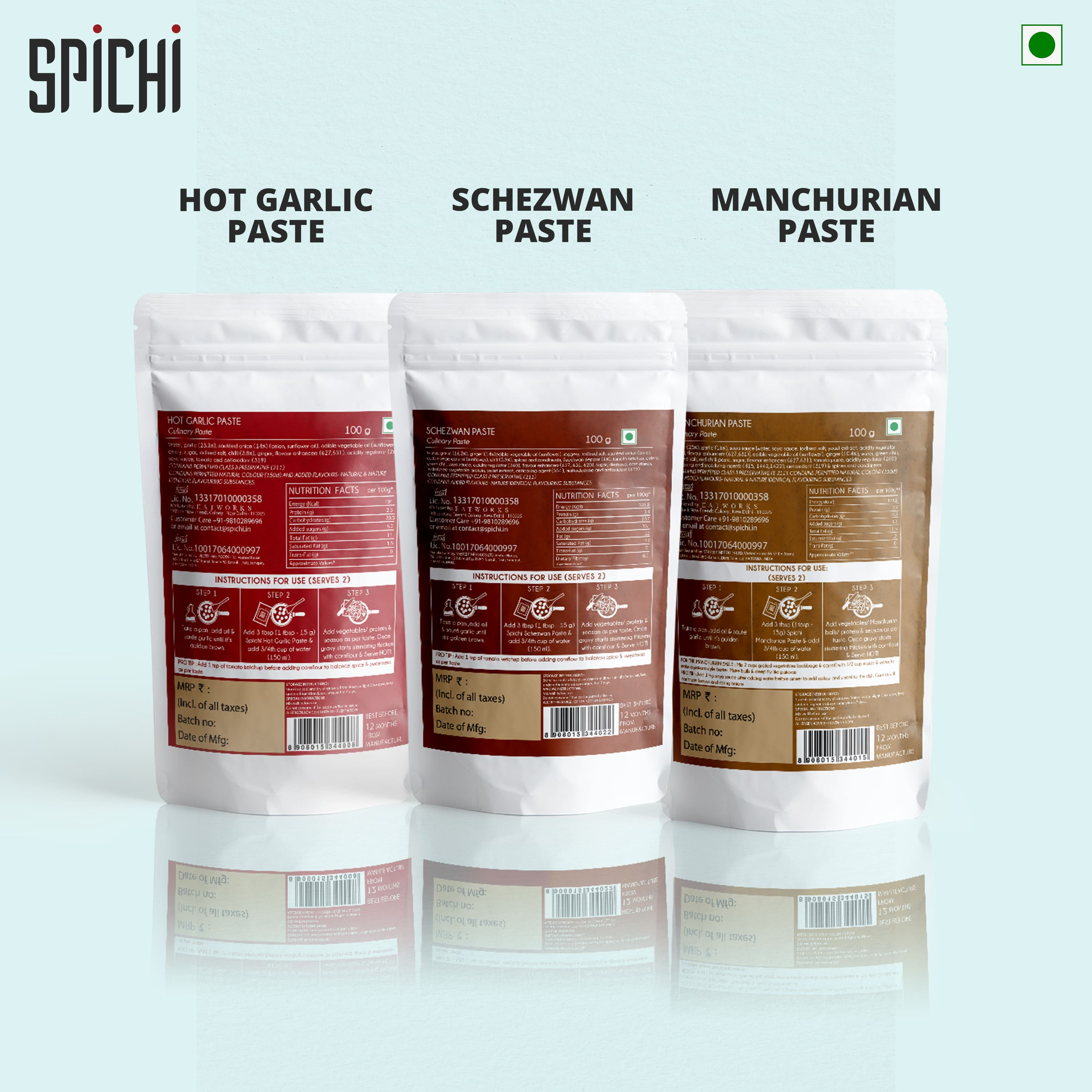 TRI-PACK - HOT GARLIC PASTE, SCHEZWAN PASTE AND MANCHURIAN PASTE