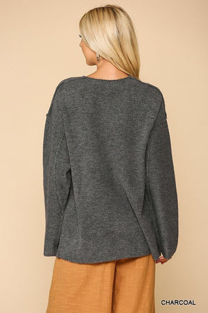 V-neck Sweater With Cut Edge