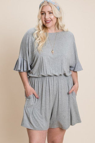 Grey Rayon Modal Plus Romper