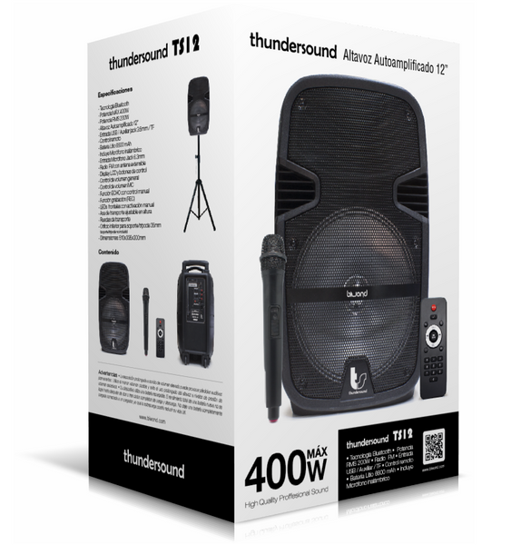 "Altavoz Autoamplificado 400W 12"" ThunderSound"