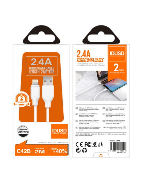 CABLE DATOS 2 MT IPHONE IDUSD C42B BLANCO