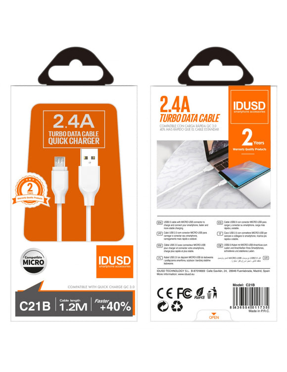 CABLE DATOS MICRO USB 2.4A IDUSD C21B BLANCO