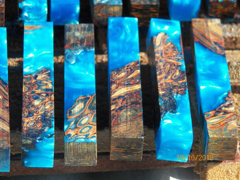 Australian #31 Palm Root PEN blanks - Resifill - Stabilized blue -sold singly