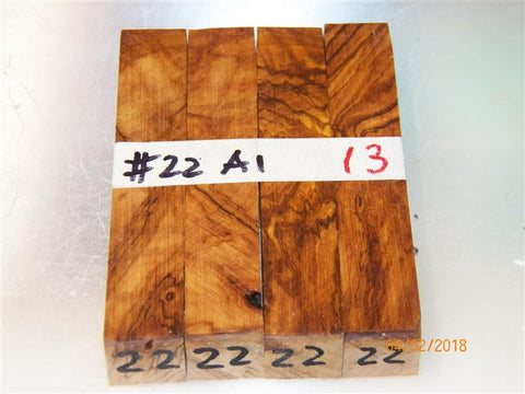 Australian #22 Olive root wood -A1 grade -RAW - PEN blanks - sold in packs