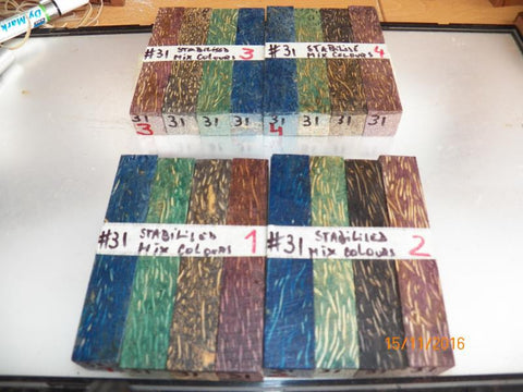 Australian #31 Palm tree Stabilised mixed colours (4)- PEN blanks - Sold in packs
