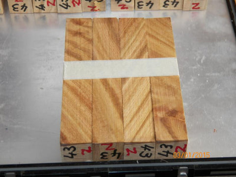 Australian #43-Z (diagonal cut) White Ironbark - PEN blanks raw - Sold in packs of 4