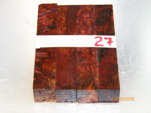 Australian #57 Peppercorn tree burl spalted - Stabilized blue and red - PEN blanks - Sold in packs