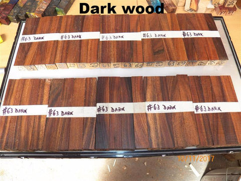 Australian #63 Earleaf Acacia PEN blanks - Dark and Light wood - Sold in packs