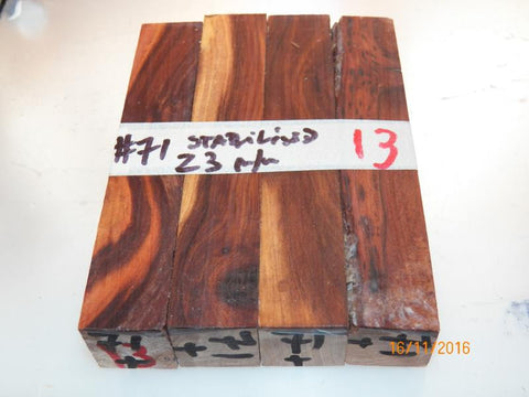 Australian #71 Prune tree wood - 23mm square PEN blanks spalted Stabilized - Sold in packs
