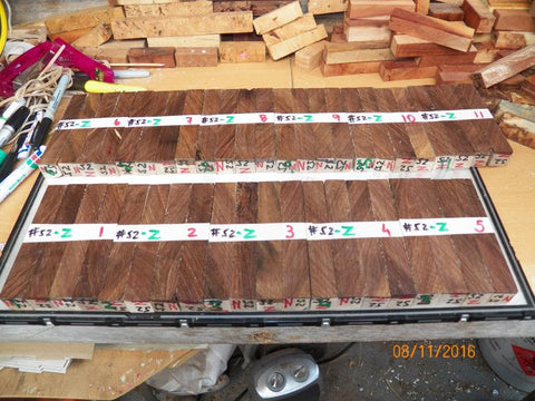 Australian #52z (diagonal cut) Walnut tree wood (local) - PEN blanks - Sold in packs