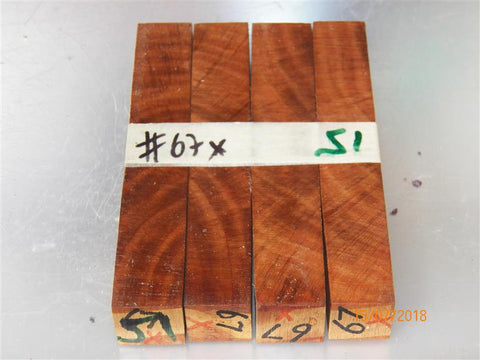Australian #67-X (cross cut) Carob tree wood - PEN raw blanks - Sold in packs of 4